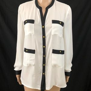 Central Park West Shirt Medium Cream Black Button